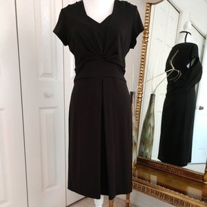 "Talbots ""Stunning"" Black V-Neck Dress, Size 8"